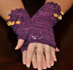 Wristlets Lacy Purple and Gold Hand Knit Fingerless Ladies Accessories, Fashion Accessories, Pink And Gold, Purple, Metallic Yarn, Fingerless Gloves Knitted, Gold Hands, Arm Warmers, Wristlets
