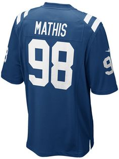 Represent your favorite Indianapolis Colts player with a Nike NFL Game jersey, inspired by what Robert Mathis wears on the field and engineered for total comfort. V-neckline with TPU shield at collar Pullover style Short sleeves Screen print graphics Woven jock tag at hem Tailored fit Officially licensed NFL product Nike on-field apparel Polyester Machine washable