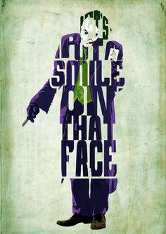 El Joker Dark Knight Poster - tipografía minimalista cartel, cartel de película, impresión del arte, Ilustración, arte de la pared