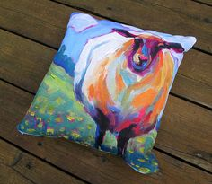 Sheep Throw Pillow  Throw Pillows  Multiple by betsymclellanstudio