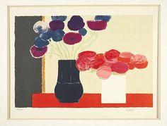 """Bernard CATHELIN 1919-2004 Ensemble de 2 lithographies   """"Bouquet jaune"""" et """"Deux bouquets"""" Lithographies en couleurs signées et numérotées respectivement 45/140 et 127/165, 76 x 54 cm, 54 x 76 cm"""