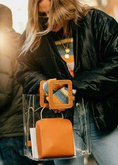 Sheer plastic nylon bags are trending from NYFW to LFW Fall Winter 2018. Nylon Bag, Fashion Weeks, Paris Fashion, Fall Winter, Plastic, Trends, Bags, Handbags, Bag