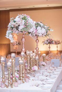 photographer: Blush Photography; Wedding reception centerpiece idea;