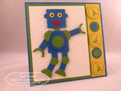 Punch Art Robot birthday by Andi Potler, Independent Stampin Up Demonstrator