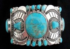 Navajo Silver and Turquoise Bracelet/Cuff BASALT TQ Signed STERLING Large *RR023
