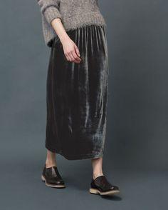 SILK VELVET SKIRT | Pull-on skirt in a fluid, silk and viscose velvet... | Street Fashion