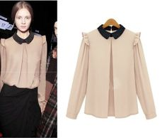 903 2014 kadın bayan bayan sonbahar kış uzun- kollu üst moda şifon gömlek peter pan yakalı gömlek şifon gömlek bluz