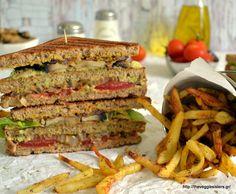 Χορτοφαγικό club sandwitch Vegan Vegetarian, Vegetarian Recipes, Healthy Recipes, Healthy Meals, Finding Vegan, Sandwiches, Stuffed Mushrooms, Veggies, Club