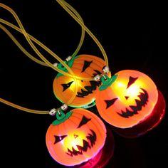 """Halloween LED Pumpkin Pendant Necklaces 18"""". Necklace has LED Pendant…"""