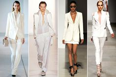White Suits—Every woman needs a sleek, modern suit for their wardrobe. The stark white ones on the runway for spring had us contemplating a new hue to explore a la Bianca Jagger.