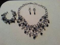 Three piece multi-strand chain set-black/grey/white and gunmetal