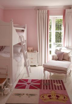London townhouse children's pink bunk bedroom  Bedroom  Kids  Modern  TraditionalNeoclassical by VSP Interiors