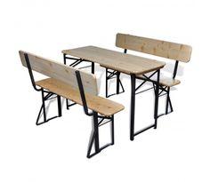 vidaXL Three Piece Foldable Beer Table and Bench Set Fir Wood