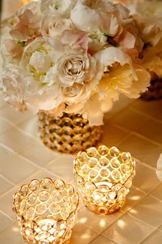 Oh my@Kelly Koenig! Look at these  beautiful gold centerpieces!!! I need another party ASAP!!! :D