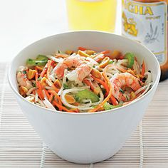 Thai-syle Jicama Salad...  Crunchy green papaya is usually the main ingredient in this type of Thai salad, but it can be hard to find.  Surprisingly, jicama—a crisp, beige-skinned root—makes a great stand-in. Find it at well-stocked grocery stores and Latino markets. To serve as a main course, increase shrimp to 1 l