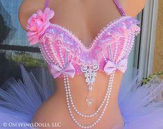 Pre Made size Pastel Pink Lilac Lavender Rave Bra Pink Burlesque Costumes, Belly Dance Costumes, Bling Bra, Rhinestone Bra, Mermaid Bra, Diy Bra, Edm Outfits, Rose Pastel, Rave Wear