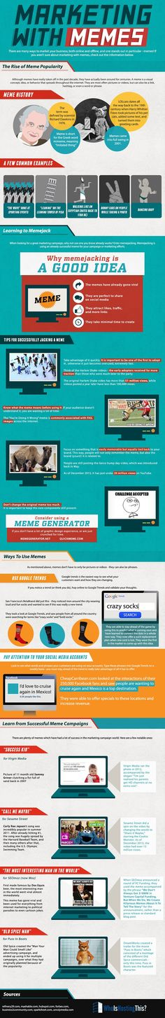 Marketing With #Memes, Or, How To Not Look Like A n00b When You Do This - #infographic #socialmedia