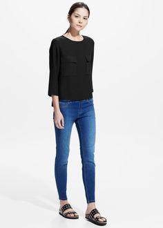 Chest-pocket crepe blouse