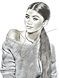 Zendaya Coleman Drawing Sketch PRINT Wall Art Illustration