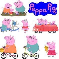 Peppa Pig cardstock cutout printable get free cupcake toppers Peepa Pig, Peppa Pig Pictures, Pig Png, Aniversario Peppa Pig, Peppa Pig Family, Bedroom Drawing, George Pig, Red Bubble Stickers, Sewing Patterns