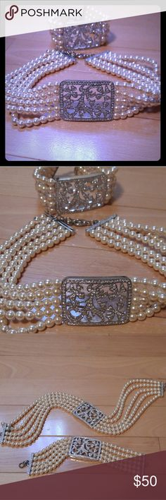 Gorgeous choker necklace & bracelet Pearl & studded crystal look 2 piece set; would work perfectly as a bridal or bridesmaid set. Jewelry