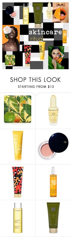 """""""Hello, Flawless: Skincare"""" by moody-board ❤ liked on Polyvore featuring beauty, Jo Malone, Brilliance New York, Clinique, Clé de Peau Beauté, Victoria's Secret, Lancôme, Clarins, Rituals and skincare"""