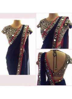 18 Latest Mirror Work Blouse Designs for Sarees this Festive Season [Styling Tips inside] Mirror Saree, Mirror Work Saree Blouse, Mirror Work Blouse Design, Fancy Blouse Designs, Saree Blouse Designs, Indian Dresses, Indian Outfits, Indian Clothes, Pakistani Dresses