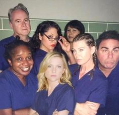 "The ""Grey's Anatomy"" cast poses as the ""Orange Is the New Black"" crew! Two of my favorite shows! Greys Anatomy Couples, Greys Anatomy Facts, Greys Anatomy Characters, Grays Anatomy, Jessica Capshaw, Derek Shepherd, Sara Ramirez, Meredith Grey, Orange Is The New Black"