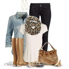 black pants, white tee, animal print scarf, tan knee length leather boots