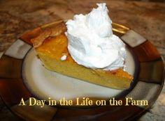 A Day in the Life on the Farm: Pumpkin Custard Pie--#Pumpkin Week