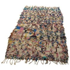 Moroccan Boucherouite Rug- 4′ × 6′3″ ($1,005) ❤ liked on Polyvore featuring home, rugs, traditional handmade rugs, hand made rugs and handmade rugs