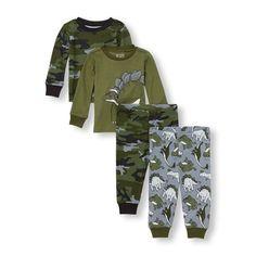 Baby And Toddler Boys Long Sleeve Hip Hop Dino Tops And Pants 4-Piece PJ Set