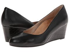 VIONIC with Orthaheel Technology Antonia Mid Wedge Pump Black - Zappos.com Free Shipping BOTH Ways