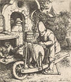 The Knifegrinder - Adriaen van Ostade (Dutch, Haarlem Etching Vintage Wall Art, Vintage Walls, Knife Grinder, Fine Art Prints, Canvas Prints, Classic Image, Historical Maps, Heritage Image, Metropolitan Museum