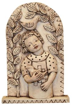 Tile by Fire - ceramic tile girl with birds