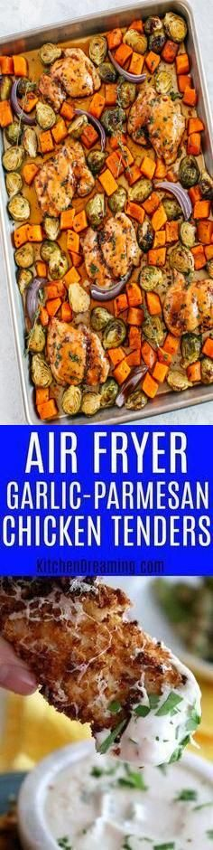 This easy Chicken Tender recipe is low in fat and calories. Don't let that fool you, they are packed with flavor! Ready in just 12-minutes, this is one meal your entire family will love!#Parmesan #Chicken #Tenders #Garlic #Fryer recipes with chicken tenders Air Fryer Garlic Parmesan Chicken Tenders 22+ Recipes With Chicken Tenders 2020 Parmesan Chicken Tenders, Garlic Parmesan Chicken, Chicken Tender Recipes, Fat, Beef, Meals, Meat, Meal, Food
