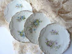 Vintage Pink Blue Floral Dainty Dessert Plates Set by jenscloset