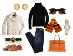 """""""Black & Orange"""" by pinkngreennblack ❤ liked on Polyvore featuring J.Crew, American Eagle Outfitters, Julie Vos, Tory Burch, Ralph Lauren Collection, Illesteva and Hermès"""
