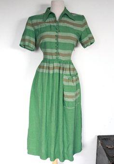 Vintage 1940's / 50s Striped Green Cotton Day Dress. $82.00, via Etsy.