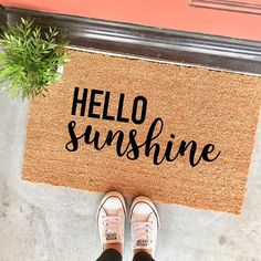 "the HELLO sunshine doormat by the Cheeky Doormat on Etsy - 18x30"" - cute doormat - cute welcome mat - #homedecor - #entryway - #doormat - #housewarming gift - #apartmentdecor - #dormdecor"