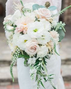Cascading Bouquet - Peach + White + Soft Greens