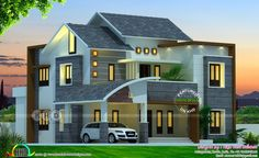 High View Builders presents a 4 bedroom modern Kerala home design in an area of 2425 square feet House Outer Design, Two Story House Design, 2 Storey House Design, Village House Design, Kerala House Design, Unique House Design, Bungalow House Design, House Front Design, Indian House Plans