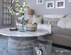 Check Out Our Easy DIY Wine Barrel Coffee Table. How To Stain & Distress Your Wine Barrel To Look Exactly How You Want it. Farmhouse Style