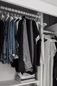 Five Steps to a Closet Makeover, Featuring tips from Shira Gill Minimal Wardrobe, My Wardrobe, Capsule Wardrobe, Wardrobe Rack, Minimalism Blog, Ikea Closet, Makeover Before And After, Tee Dress, Modern Luxury