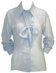 Blue Blouse With Neck Tie - Dolce & Gabbana  http://www.room7.co.uk/what-s-new/dolce-gabbana-n-a-shirt.html