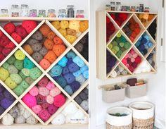 Yarn storage in a wall-hanging wine rack