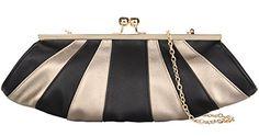 Grace Angel Women's Shell Shaped Handbag Evening Bag Party Clutch GA15493 Black and Gold ** For more information, visit image link.