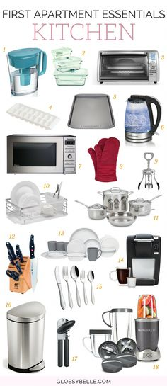 The Ultimate Guide: First Apartment Essentials – Glossy Belle - - Moving out into your first apartment? Here is a list of the important first apartment essentials you'll need to be ready to move out on your own. Diy Home Decor For Apartments, Modern Apartment Decor, Design Apartment, Cool Apartments, Apartment Furniture, Apartment Kitchen, Home Decor Kitchen, Decorating Kitchen, Apartments Decorating