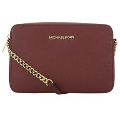 MICHAEL Michael Kors Jet Set Crossbody Bag ($240) ❤ liked on Polyvore featuring bags, handbags, shoulder bags, leather crossbody, red leather purse, crossbody shoulder bags, crossbody handbags and red purse