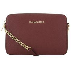 MICHAEL Michael Kors Jet Set Crossbody Bag ($240) ❤ liked on Polyvore featuring bags, handbags, shoulder bags, leather crossbody, red leather purse, crossbody shoulder bags, crossbody handbags and red purse